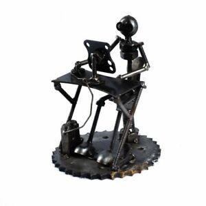 Scrap Metal Art - Steel Computer Man Figurine Sculpture Ornament