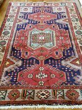 4.6 x 6 Antique Veg Dye Caucasian Heriz Oushak Vintage Serapi Kazak Shirvan