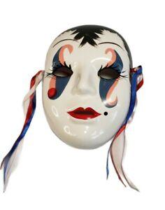 Vintage 90's Mardi Gras Opera Mask - Signed Bertha Rogers - Carnival Decor