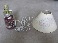 Electric Mason Jar Lamp with Flowered Paper Shade with Cutouts