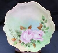 "Antique CT Germany Signed by Author Hand Painted Pink Roses 8 1/2"" Salad Plate#3"