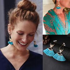 2017 Women's Beaded Tassel Eardrop Spike Geometric Triangle Blue Stud Earrings