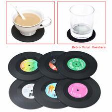 New 6PCS Spinning Hat Retro Vinyl Record Coaster Set Novelty Drink Mats nw