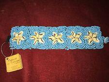 Inusual atractivos colores turquesa con cuentas pulsera, decoración de estrellas de concha de mar