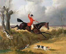 "1839- John Frederick Herring, Fox Hunting, Horse, HUNT, dogs, 20""x16"" ART PRINT"