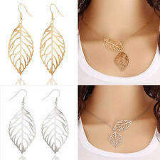 Hollow Dangle Drop Earrings Necklace Set! Stunning Leaves Gold & Silver Plated