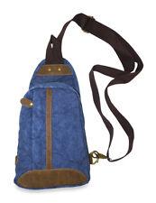 Mens Canvas Sling Backpack Shoulder Bag Leather Messenger Blue Suede