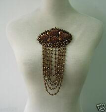 SB260 Fringed 3D Floral Rhinestone Beaded Motif Jewelry Brooch Jewelry Accesory