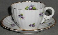 Bone China ROYAL STAFFORD Cup and Saucer SWEET VIOLETS PATTERN w/Gold ENGLAND