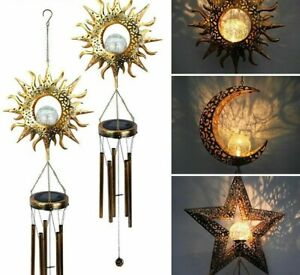 Solar Light Wind Chimes Waterproof Outdoor Bells For Party With Moon Decoration