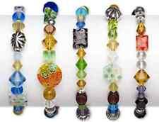 "Bracelet Mix Glass/Millefiori Glass Stretch Multi-Colors & Shapes 7"" Lot Of 5"