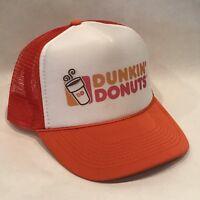 Dunkin Donuts Trucker Hat Coffee Shop Vintage Mesh Back Snapback Cap! Orange