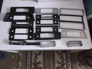 Classic car radio Plastic face plates X 14, and 3 plastic surround trim all used