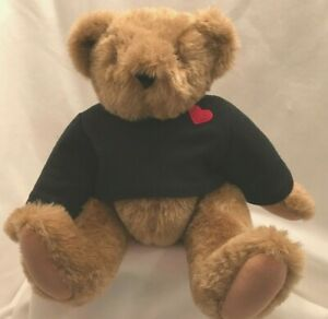 "Vintage Vermont Teddy Bear Brown Tan Full Jointed LOVE BANDIT Black Shirt 16"""