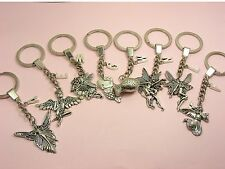 Alphabet LETTER Initial A~Z KEY Chain RING w/CHARM ~Angel/ FAIRY/ Eros/ MERMAID~