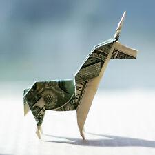 Origami UNICORN Model Horse Figurine Money Mini Animal Real $1 Dollar Bill Decor