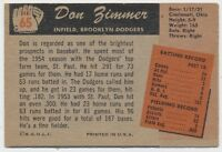 1955 Bowman RARE Card  Don Zimmer ROOKIE  CARD  Brooklyn Dodgers
