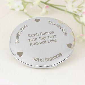 Personalised Engraved Beautiful Bride Compact Mirror - Mum, Daughter, Wife