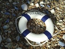 Titanic Ship Life Ring Blue & White / Boat / Wheel- maritime Bathroom Life Buoy
