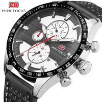 MINI FOCUS Big Dial Mens Watches Quartz Wristwatches Chronograph Sub-dials Watch