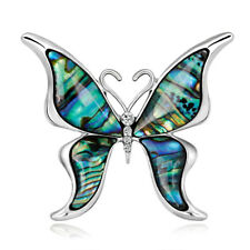 Fashion Abalone Shell Rhinestone Crystal Alloy Butterfly Animal Pin and Brooch