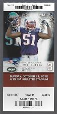 2012 NFL NEW YORK JETS @ NEW ENGLAND PATRIOTS FULL UNUSED FOOTBALL TICKET
