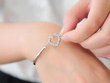 Beautiful Silver Crystal Rhinestone Heart  Bracelet Gift NEW
