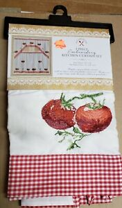 "3 pc. Embroidery Curtains Set: 2 Tiers & Swag (60""x36"") RED TOMATOES, ivory, KD"