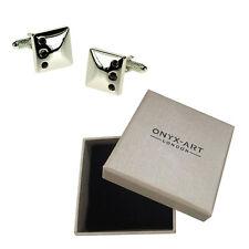 Mens Amethyst Crystal Sqaure Cufflinks & Gift Box By Onyx Art
