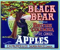 Black Bear Apples Crate Label Art Print E A Palmer & Co Salmon Arm B.C Canada