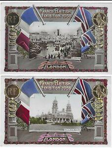1908 Franco British Exhibition Aristophot photo cards x 8 unused and used