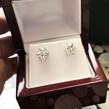 Round 1 Carat Solitaire Diamond Stud Earrings 14K White Gold 6 Prongs Studs