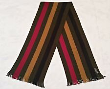 GERMANY VINTAGE AUTHENTIC STRIPED GREEN  BLUE RED WOOL LONG MEN'S FRINGE SCARF