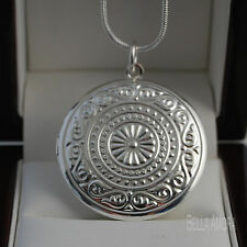 """925 stamped sterling silver plated ROUND medaglione a sbalzo 18 """"collana catena -145"""