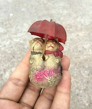1930's VINTAGE SCARCE DOG-CAT COUPLE HOLDING UMBRELLA CELLULOID TOY, JAPAN