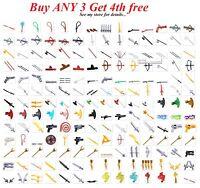 ☀️NEW! Lego PICK YOUR WEAPON Lot Swords Guns Axe Knife Knights Agents Ninjagos