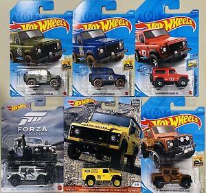 hot wheels Land Rover Defender lot of 6 defender 90 blue double cab defender 110