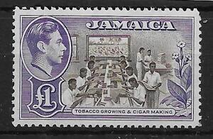 JAMAICA SG133a 1949 £1 CHOCLATE & VIOLET MTD MINT