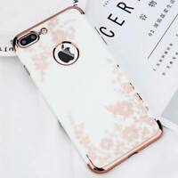 Shockproof Flower Pattern Plating Bumper Hard Case Cover For iPhone X 6s 7 Plus