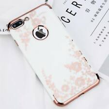For iPhone X 6s 7 7 Plus Slim Back Girl Retro Flower Plating Soft TPU Case Cover