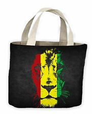 Lion Of Judah Rasta Colours Reggae Tote Shopping Bag For Life - Bob Marley