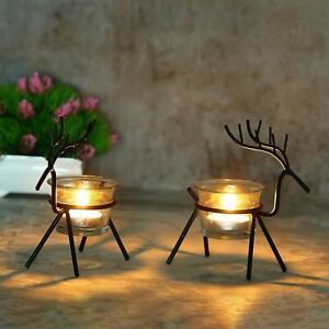 Christmas Reindeer Candles Holder -2 Pcs (Black) Reindeer Shaped Tealight Holder
