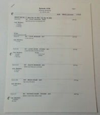 ONE TREE HILL set used SHOOTING SCHEDULE ~ Season 1, Episode 9