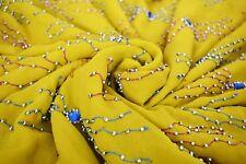 Indian Vintage Hand Beaded Saree Sari Blend Chiffon Yellow Sequins Sari Craft