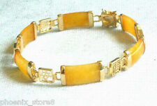 Natural Yellow Jade 18Kgp Gold Fortune Lucky Longevity Link Bangle Bracelet