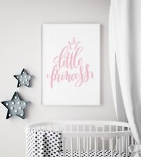 Little Princess Pink & White Baby Girl Nursery Print Kids Room Wall Art Picture