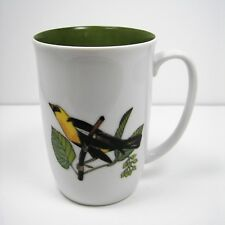 Fitz & Floyd Collector's Birds Mug Neiman Marcus Cup Yellow Finch White Green