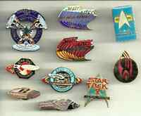 Vintage STAR TREK Mixed Series Cloisonne Pin Set of 10 Pins- Unused (Set C)