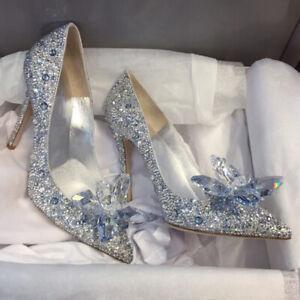 Silver Cinderella Wedding Party Diamond Pumps Crystal High Heels Shoes Size 2-7