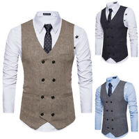 Men Herringbone Tweed Wool Blend Waistcoat Office Business Formal Vest Suit S-5X